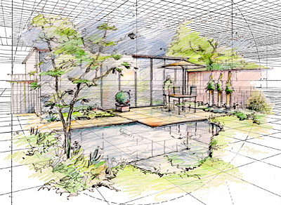 Perspective for Garden design sketches